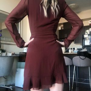 Wilsons Leather Dresses - Aritzia/Wilfred burnt red wrap dress